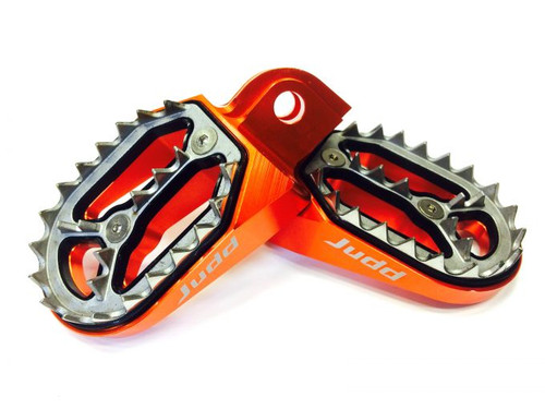 Shark Tooth Foot Pegs Orange, KTM 85 2018, 2019 KTM 125, 250, 450 2016> Judd Racing