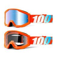 THE STRATA Junior Goggles - Orange (Mirrored Blue Lens, Clear Lens)