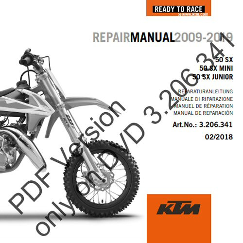 KTM OEM DVD Repair Manual 50SX 50SX MINI 2009 2020