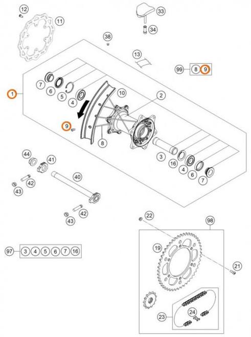 KTM OEM Spoke Nipple 4.5 SX/EXC/XC 85-500 2012> (79109072000)