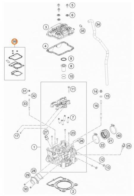 KTM OEM Cylinder Gasket Set SX-F/FC 350 16> and EXC-F/FE