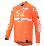 ALPINESTARS 2020 YOUTH RACER TECH JERSEY ORANGE FLUO/WHITE/BLUE (A3770720447M)