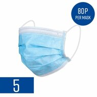 Disposable Protective Face Masks (Pack of 5)