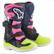 Alpinestars 2021 Kids Tech 3s Boots Black/Blue/Fluo Pink