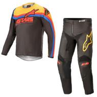 Alpinestars 2021 Youth Racer Venom Black Bright Red Orange Kids Jersey Pants Combo - Motocross Gear