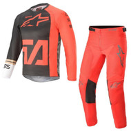 Alpinestars 2021 Youth Racer Compass Anthracite Red Fluo White Kids Jersay and Pants Combo - Motocross Gear