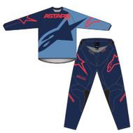 Alpinestars 2021 Youth Racer Braap Dark Blue Powder Blue Red Kids Jersey and Pants Combo - Motocross Gear