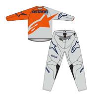Alpinestars 2021 Youth Racer Braap Orange Grey Blue Kids Jersey and Pants Combo - Motocross Gear