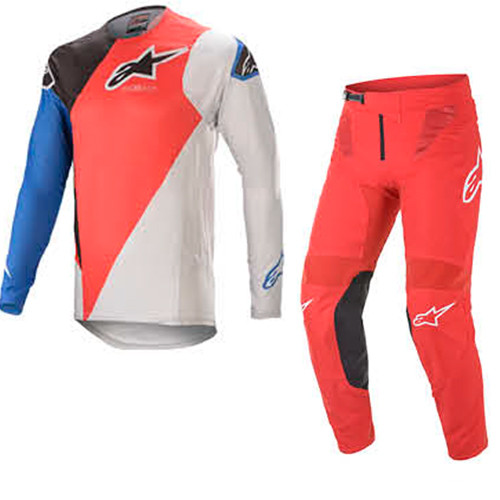 Alpinestars 2021 Supertech Blaze Red/Blue Adult Combo (A37604213017X-A37204213010XX)