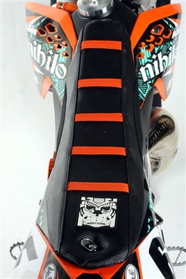 KTM SX 85 2018-2020 Ribbed Gripper Seat Cover Black Orange Ribs Motocross