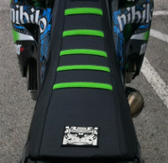 NIHILO KAWASAKI 2014  KX 85 SEAT COVER BLACK & GREEN STRIPES