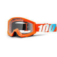 100% STRATA GOGGLES - ORANGE - CLEAR LENS