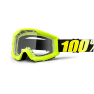 100% STRATA GOGGLES - NEON YELLOW - CLEAR LENS