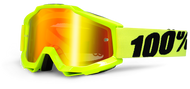 100% ACCURI GOGGLES - FLO FLUO YELLOW - MIRROR RED LENS