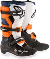 ALPINESTARS TECH 7S YOUTH BOOT BLACK/ORANGE/WHITE/BLUE