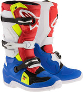 ALPINESTARS TECH 7S YOUTH BOOT BLUE/WHITE/RED/YELLOW FLO