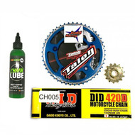 Sprocket Kit 65SX 2009> TC65 2017> Chain + Chainlube Blue