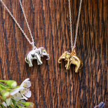 gold,sterling silver lucky elephant necklace