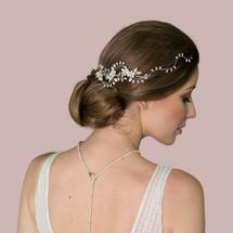 Abingdon floral pearl cluster hair vine