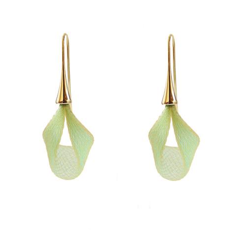 VLUM - Pétale Bright Green and Gold Drop Earrings