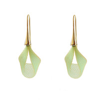 VLUM - Pétale Bright Green and Gold Drop Earrings