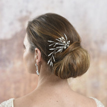 Penrose Long Trailing Hair Pins made with clear crystals and pearls