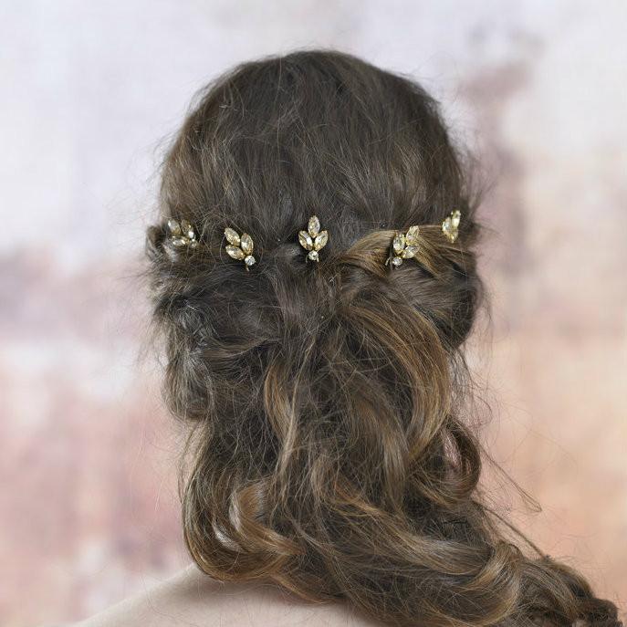 ab7d20b90b0ed Jules Champagne Gold Bridal Hair Pins (Set of 5) | Bridal Hair ...