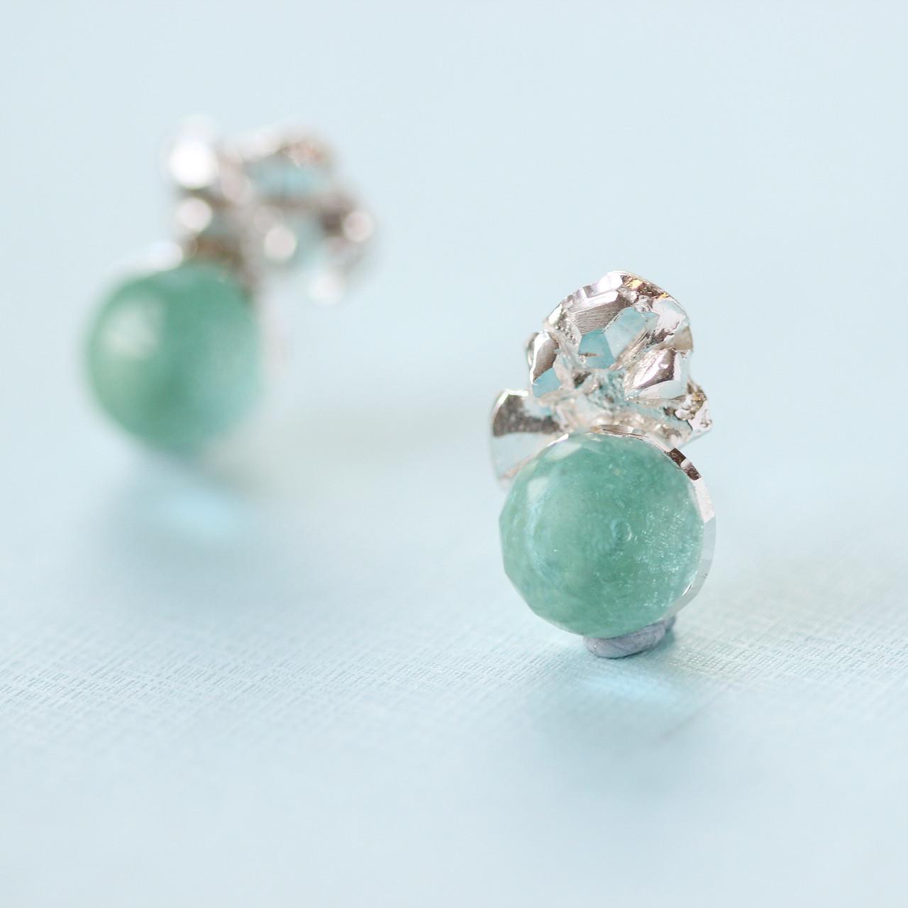 2be358eea Loading zoom. Tina Kotsoni - Sterling Silver and Green Gemstone Earrings