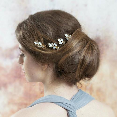 Drusilla Opal Stone and Gold Bridal Hair Pins