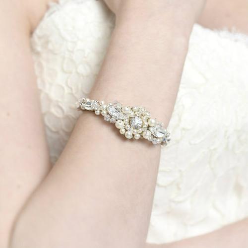 'Whitney' dusty pink pearl wedding Cuff Bracelet bangle