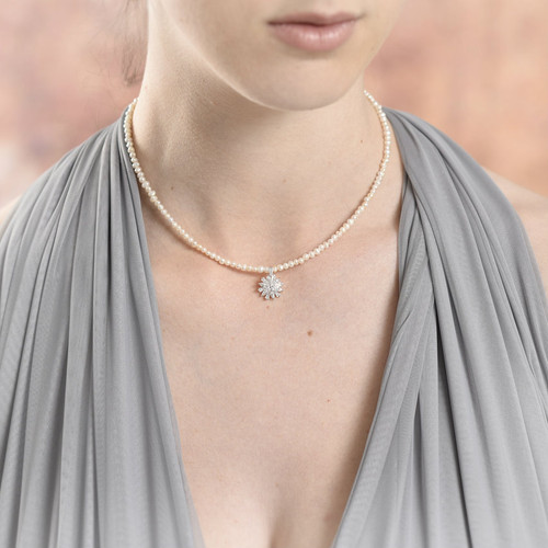 Gertrude Freshwater Pearl Frosty Flower Necklace