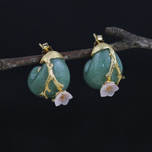 chinese_jade_stone_gold_plating_cherry_blossom_stud_earrings
