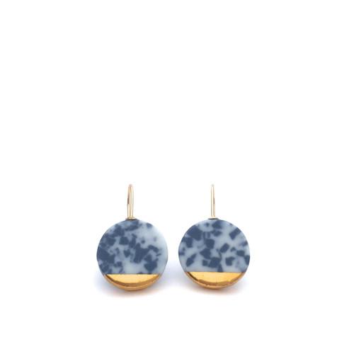 oei_ceramics_earrings_handmade_porcelain_gold_plating_circular_statement