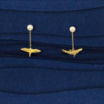 Shi Kou Er Jiong - Gold Vermeil Bird & Whale Mix and Match Pearl Drop Earrings