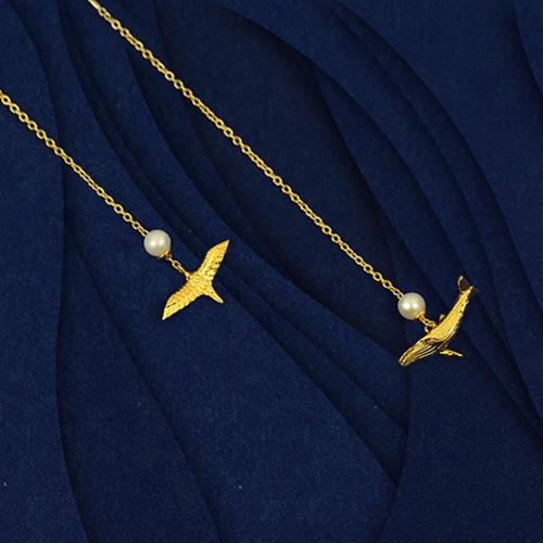 Shi Kou Er Jiong - Gold Vermeil Bird & Whale Mix and Match Earrings Threaders