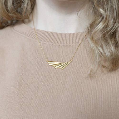 Alice_Barnes_gold_plated_pleated_wave_handmade_jewellery_asymmetric