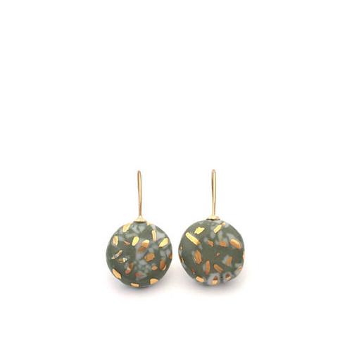 olive,green,ceramic, porcelain,gold,earrings, drop.artisan,jewellery