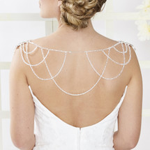 Apricot Bridal Dress Backdrop Necklace AR099 scallop edge drip necklace