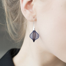 VLUM_Paris_handmade_earrings_nylon_threading_silver_plating_blue_brown