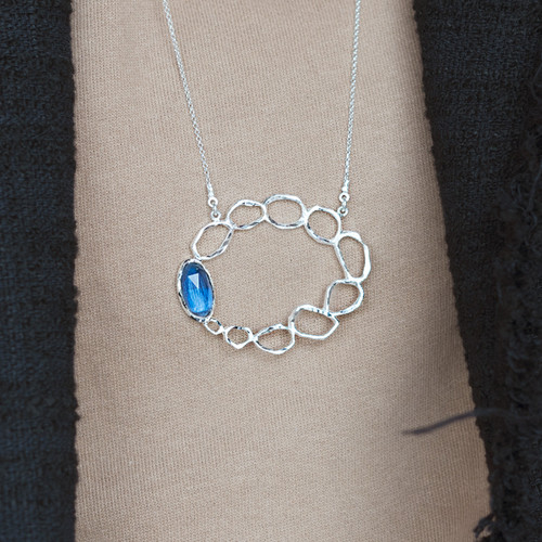 Tina_Kotsoni_necklace_London_Blue_Topaz_handmade_long_pendant_statement_sterling_silver