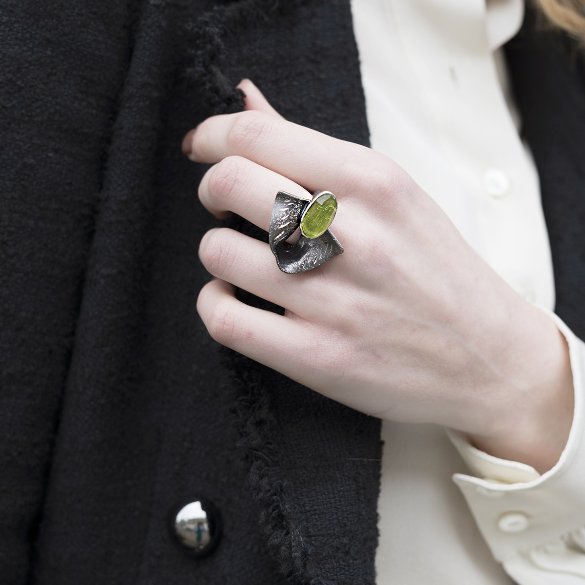 d34c5d57b Loading zoom.  Tina_Kotsoni_handmade_jewellery_oxidised_silver_peridot_green_stone_unique_different_eye_catching_ring