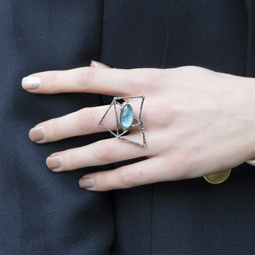 Tina_Kotsoni_handmade_jewellery_geometric_ring_oxidised_silver_London_blue_topaz_stone