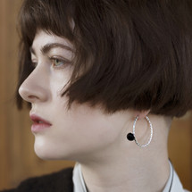 Tina_Kotsoni_sterling_silver_black_onyx_hoop_earrings_handmade_jewellery_hammered_textured_statement