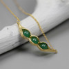 Botanic_garden_collection_gold_plating_sterling_silver_jade_stone_necklace_handmade_peas_in_a_pod