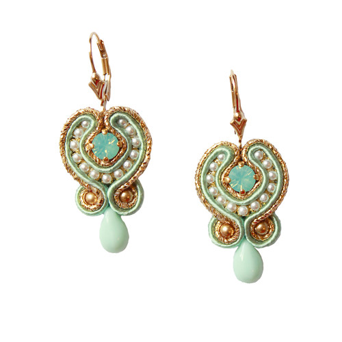 Hand_Embroidered_Gold_Mint_Green_Drop_Earrings_handmade_statement_eye_catching_Betsy_Heilmann