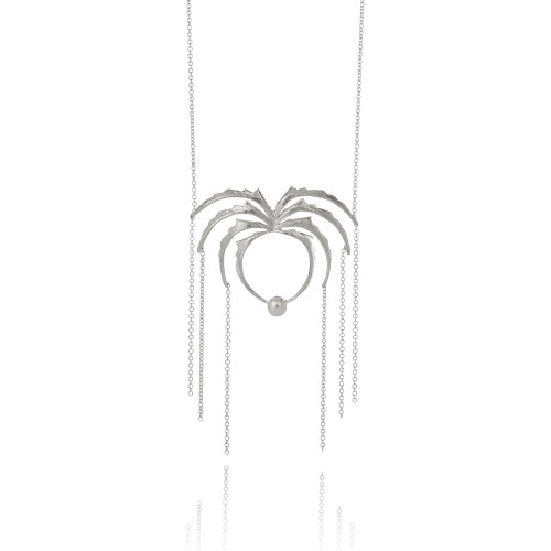 Aurum_Iceland_necklace_handmade_sterling_silver_Swarovski_pearl_statement_spider_KOLKA