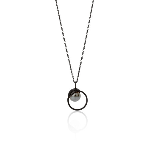 Aurum Iceland- Black Oxidised Silver Pearl Necklace