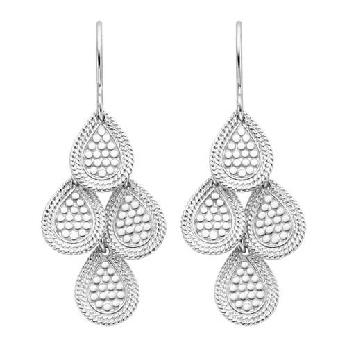 Sterling Silver Divided Disc Chandelier Earrings