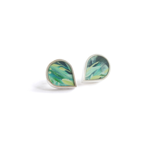 Holly_Suzanna_Clifford_sterling_silver_hand_painted_lotus_earrings_teardrop_studs_handmade