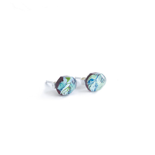 Holly_Suzanna_Clifford_handmade_jewellery_hand_painted_studs_earrings_gemstone_botanical_green_blue